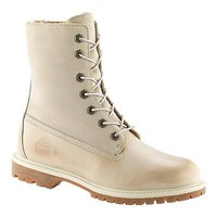 Timberland Off White Leather Winter Boots Womens Sizes Faux Fur Fold Down 26653