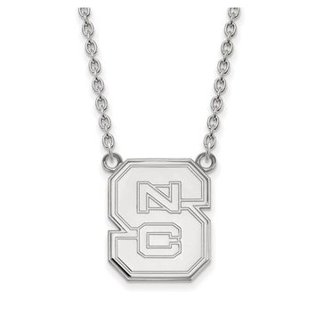 NCAA 14k White Gold North Carolina Large 'NCS' Pendant Necklace