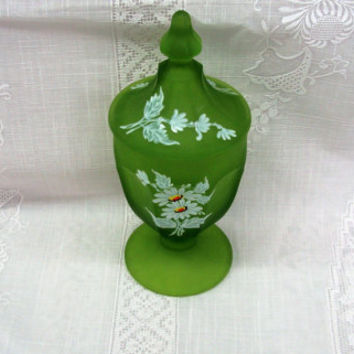 Westmoreland Green Candy Dish | Satin Glass | White Flowers | Pedestal Jar with Lid