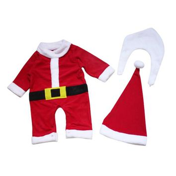 Christmas Costume 3 PCS Baby Clothes Sets Baby Santa Claus Cosplay Long Sleeve Rompers+Hat +Winter Mustache Toddle Suits H3