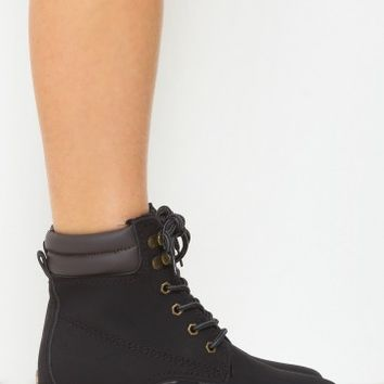Just Kicking It Lace Up Boots Black | LASULA