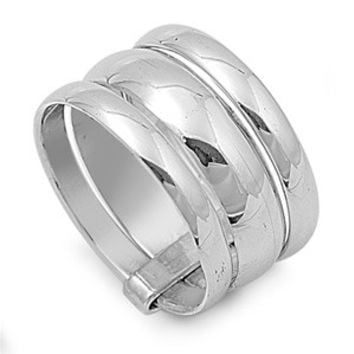 925 Sterling Silver Tri Connected Band Ring