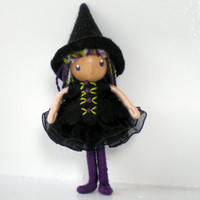 Witch Bendy Doll by Princess Nimble-Thimble, Small Felt Doll, Bendable Doll, Waldorf Nature Table Decor, Halloween Witch, Autumn, Fall