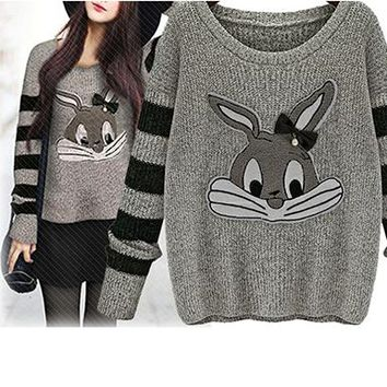 Womens Printed Sweater - Old School Girl / Bugs Bunny S