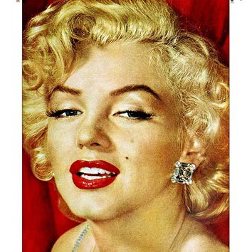 Marilyn Monroe Vintage Picture on Large Canvas Hung on Copper Rod, Ready to Hang, Wall Art Décor
