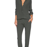 MONROW Crepe Long Sleeve Jumpsuit in Olive