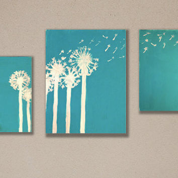 Dandelions 18 X 10 on Gallery Wrapped Canvas Acrylic Painting by Amanda Pennington