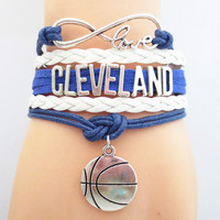 Top Quality Infinity Love Cleveland basketball Team Bracelet Customized Cavaliers Wristband friendship Bracelets BB09013