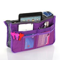 ANDI ROSE Portable Bag Comestic Makeup Travel Handbag Purse Organizer Insert Pockets (purple)