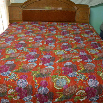 Gorgeous Tropical Fruit Print Blanket kantha , Reversible Bedspread Handmade Cotton Bedsheet Home Décor