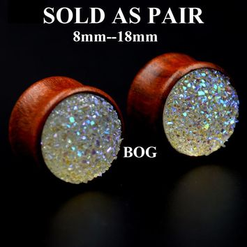 Pair Natural Rose Wood Double Flared Ear Tunnel Plug Expanders Earlet Gauges With synthetic druzy Body Piercing Jewelry