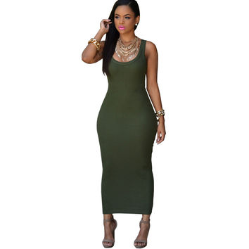 Green Bodycon Maxi Dress