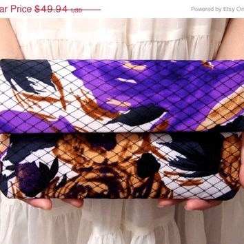 ON SALE Bridal Bridesmaid Clutch - Clutch - Wild Flower Print - Unique Wedding Clutch Purse - Purple Black Clutch - Formal Prom Clutch Bag