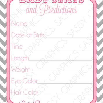 Instant Download Baby Stats & Prediction Card - Chevron, Pink, Gray, Printable, Digital