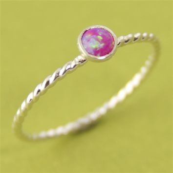 Neon Pink Opal Stacking Ring - Spiffing Jewelry