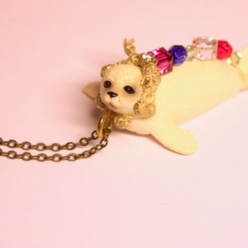 Embellished animal necklace. Seal Cub pendant. Animal costume jewellery, novelty animal gift for her. Beaded jewellery.
