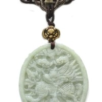 Elegant Carved Flying Horse Kilin Jade Feng Shui Amulet Necklace - Fortune Fashion Jewelry