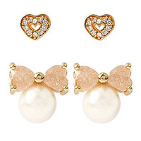Betsey Johnson Pearl Heart Duo Earrings - Gold/Pearl