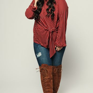 Curvy Supporting Stripe Top (Red Brick)