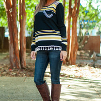 Pocket Fringe Sweater, Black