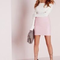 Missguided - Faux Leather Mini Skirt in Pink