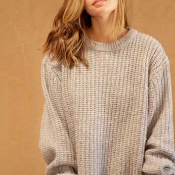 90s simple GREY textured grunge SLOUCHY warm sweater