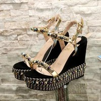 Christian Louboutin CL Pyraclou 6cm or 11cm Wedges Style #40 - Best Online Sale