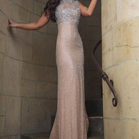 Nude Fitted Sleeveless Prom Dress 2971