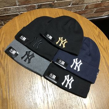 """New York Yankees"" Autumn Winter Unisex Simple Letter Embroidery Knit Mohair Hat Couple All-match Warm Hat"