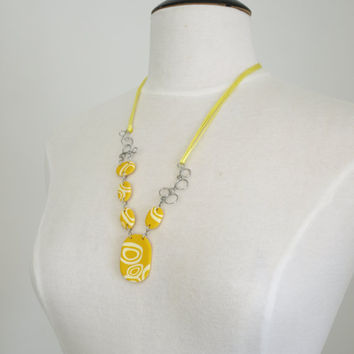 Yellow Oval Necklace, Lemon Yellow Circles Necklace, OOAK