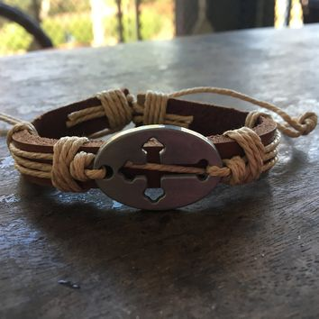 The Ryan Cross Hemp and Brown Leather Bracelet