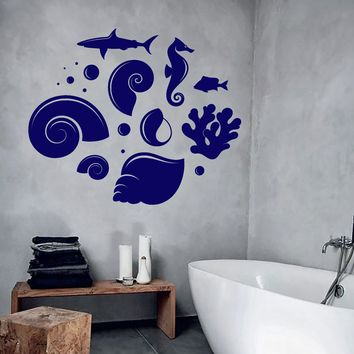 Vinyl Wall Decal Stickers Ocean Sea Shells Fish Shark Seahorse Unique Gift (681ig)