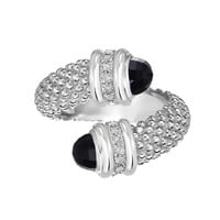 Sterling Silver Black Onyx And Diamonds Bybass Ring