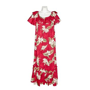 Ky's Red with Orchid and Palm Trees Ruffle Neck Long 100% Cotton Muu Muu