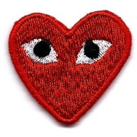 "Embird ""PLAY"" COMME des GARCONS Red Heart Eyes Embroidered Iron On / Sew On Badge Applique Patch"