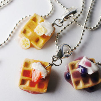 Waffle Best Friend Necklaces, MIniature Food Jewelry, Friendship necklaces
