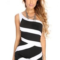 Black White One Shoulder Sexy Party Dress