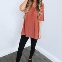 Down To Earth Tunic: Coral/Black