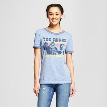 Women's Star Wars Short Sleeve Rebel Wookie Burnout Ringer Graphic T-Shirt (Juniors') Navy