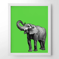 Elephant With Pop Color, Vintage Engraving, Simplistic, Cute, Minimalist, Colorful Office, Kitchen, Home, Nursery Decor, Unique Gift, Poster