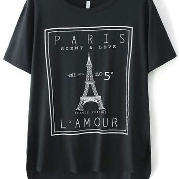 Black Eiffel Tower Print Dip Hem Top
