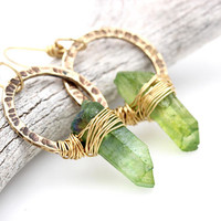 Quartz Crystal Earrings Raw Crystal Earrings Raw Jewelry Hoop Earrings Brass Hoops Green Crystal Earrings Bohemian Earrings Bohemian Jewelry