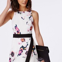 CREPE ORIGAMI BODYCON DRESS WHITE FLORAL