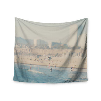 "Laura Evans ""Santa Monica Beach"" Brown Blue Wall Tapestry"