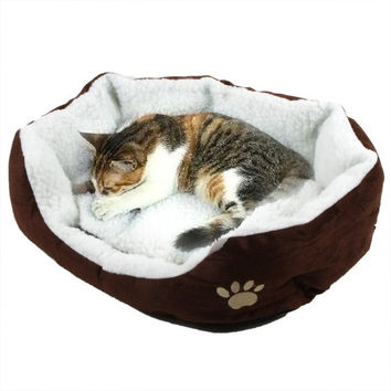Pet Dog Nest Puppy Cat Soft Bed Fleece Warm House Kennel Plush Mat  H8588 = 1930078084