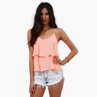Spaghetti Strap Ruffled Layer Top