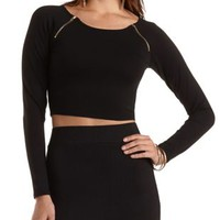 Raglan Zipper Long Sleeve Crop Top by Charlotte Russe
