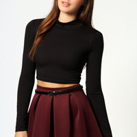 Alexa High Neck Longsleeve Crop Top