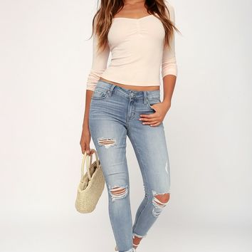 Josie Light Wash Distressed Skinny Jeans