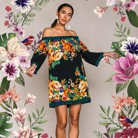 Flying Tomato Freemarket Print Off Shoulder Dress - Black